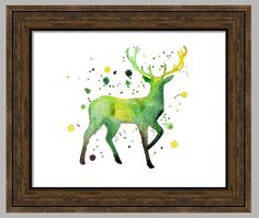 Watercolor Buck Print Fine Art Print Giclee by PrintsbyRebeccaRose