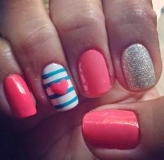 nails Nails Goldsberry can we do this sometime soon? Stripes with glitter Nails Nails Nails nail polish Cute Nail Polish, Nails Polish, Nude Nails, Fancy Nails, Diy Nails, Pretty Nails, Cute Nail Art Designs, Easy Designs, Fingernail Designs