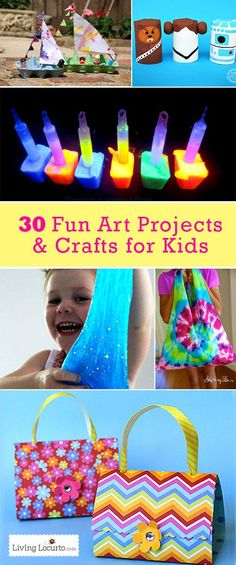 30 Awesome Arts and Crafts Projects for Kids! These fun and easy kids crafts will help fight off summer boredom. #kids #crafts