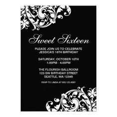 20 best black and white party invitations images on pinterest black and white swirl flourish sweet 16 birthday invites filmwisefo