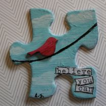 lori smith puzzle-believe you can- bird on wire Puzzle Piece Crafts, Puzzle Pieces, Crafts For Kids, Arts And Crafts, Paper Crafts, Altered Books, Altered Art, Craft Tutorials, Craft Projects