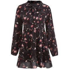 Black 4xl Plus Size Floral Chiffon Bowtie Tunic Top ($14) ❤ liked on Polyvore featuring tops and tunics