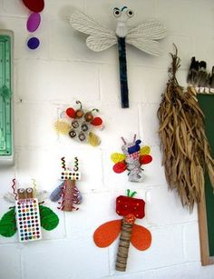 Bugs -clothes pins and magnets