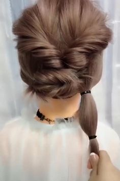 Heatless Hairstyles, Easy Hairstyles For Long Hair, Girl Hairstyles, Hairstyle Ideas, Easy Updos For Medium Hair, Thin Hair Updo, Short Hairstyle Tutorial, Updos For Fine Hair, Short Bob Updo