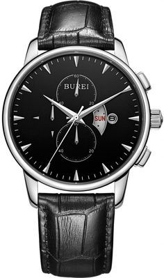 BUREI Men's Day and Date Calfskin Leather Multifunction Watch (Black Dial)