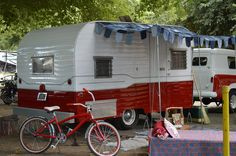 vintage camping trailer: Many people painted their trailer and pulling vehicle in matching colors.