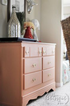 Coral Dresser Makeover  |  The Blissful Bee