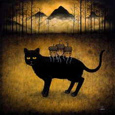 """Exodus of Youth - Andy Kehoe's oil on wood panel for """"Strange Wanderings"""" Jonathan Levine Gallery, 2011"""