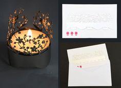 Blumenkarte mit Windlicht aus Metall - Schicken Sie eine wunderschöne Grußkarte mit tollem Blumenmotiv