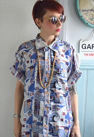 Amazing blue and white 1980's Printed Shirt One Size