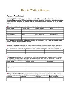 Printables Resume Worksheet builder worksheet davezan resume davezan
