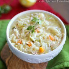 Lemon Chicken Orzo Soup | The Girl Who Ate Everything; substitute white rice for orzo noodles and you got gluten free!
