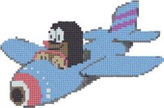 Mole in the aircraft, free cross stitch patterns and charts Xmas Cross Stitch, Cross Stitch Embroidery, Disney Cross Stitch Patterns, Iron Beads, Knitting Charts, Mole, Betty Boop, Aircraft, Tunisian Crochet