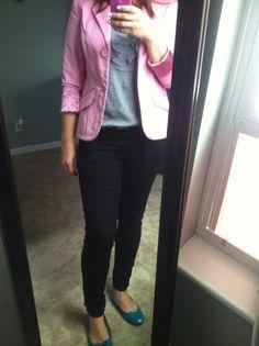 Pink blazer skinny jeans