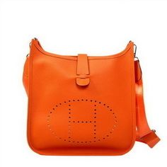 Hermes Evelyn orange calf leather shoulder bag H1188