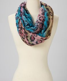 Look what I found on #zulily! Blue & Pink Leopard Wool Infinity Scarf by Rising International, $10 !!  #zulilyfinds