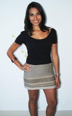 Tribal Horizontal Gray Cotton Mini Skirt... exclusive: Only sold thru navaiyara Etsy!