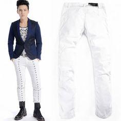 Cool Men White Studded Slim Fit Cyber Punk Rock Fashion Pants Trousers SKU-11404288