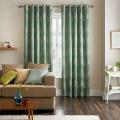 Jeff Banks Home Diego Teal Eyelet Heading Lined Curtains