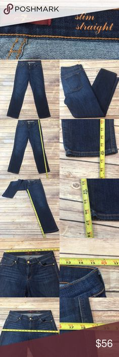 💄Sz 30 7 For All Mankind Slim Straight Dark Jeans Measurements are in photos. Normal wash wear, no flaws. E3  Ask about a bundle discount on all items that are not ⏰Flash Sale items! I ship everyday. I always package safely. If I run out of boxes, I will use priority bags over a polymailer bag. If you prefer to only receive this great item in a box, please let me know! Thanks! 7 For All Mankind Jeans Straight Leg