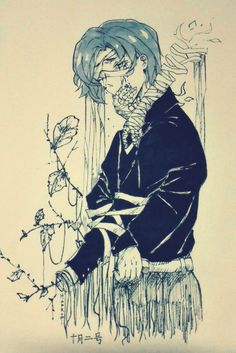 "hanromi: "" Inktober October, Kanae von Rosewald~ Someone please save him from Eto's treatment. Tsukiyama, Ayato, Kaneki, Kanae Von Rosewald, 2nd October, Kendo, Bury, Anime Boys, Tokyo Ghoul"