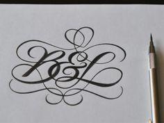 Hand lettering, B Monogram Tattoo