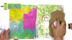 Tips and tricks for how to make hot glue pattern making stamp...But how do you get the hot glue uniformly smooth for the best printing? What's the no fumble way to use them when printing? How can you stamp a good impression in an art journal using regular acrylic paint?  All this in the play using the stamp on a gel plate!