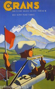 Crans poster - golfing in the Alps