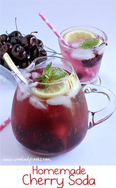 Homemade Cherry Soda is easier to make than you think. The kids will enjoy making homemade cherry soda. Click through to see the easy 'how to'. Refreshing Drinks, Summer Drinks, Fun Drinks, Healthy Drinks, Healthy Soda, Alcoholic Drinks, Mocktail Drinks, Summer Food, Party Drinks
