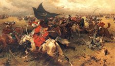 """""""Battle over the Turkish banner, Sipahis of the Ottoman Empire in Vienna, Austria. Ottoman Sipahis in battle holding the Crescent Banner against the Polish-Lithuanian Commonwealth forces"""", 1905 by Józef Brandt Battle Of Vienna, Empire Ottoman, Turkish Soldiers, Ottoman Turks, Historia Universal, Empire Romain, By Any Means Necessary, Historical Art, Byzantine"""