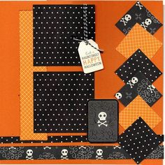 BOO Happy Halloween 2 Page Scrapbooking Layout Kit