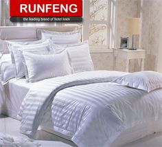Hotel Supplies Wholesale Bed Sheet Sets / Hotel Bed Set Duvet Cover / 3CM White Stripe Used Hotel Bedding Sets