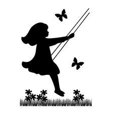 Silhouette Children Mural Decal Vintage Swinging Child Girl Wall Art Stickers #Handmade