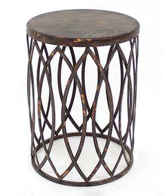 Look at this #zulilyfind! Distressed Metal Side Table by Screen Gems Furniture Accessories #zulilyfinds