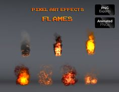 """Check out new work on my @Behance portfolio: """"Pixel Art Effects Flames"""" http://be.net/gallery/53311335/Pixel-Art-Effects-Flames"""