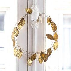 "Guirlande métallique dorée ""Grandes feuilles"""