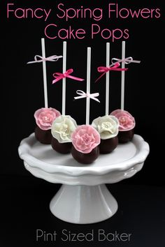Fondant Flower Cake Pops, perfect for a wedding, fancy party or even a little girls tea party. From www.PintSizedBaker.com