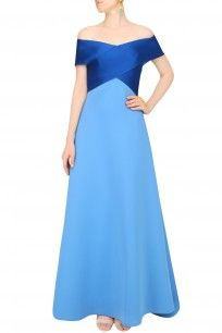 Cerulean Blue Dual Toned Evening Gown #blue #dualtoned #eveninggown  #ShivaniAwasty #perniaspopupshop #shopnow