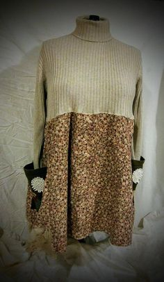 I married a soft cotton sweater with soft floral corduroy. Two large pockets with patches and vintage doilies. Larger vintage doily on the back. Hem is accented with dyed to match vintage cotton Battenburg lace. It measures 24 across at the under arms, 37 across at the hips (free hips) and is 40 in Old Sweater, Cotton Sweater, Flannel Dress, Sweater Refashion, Different Dresses, Vintage Cotton, Diy Clothes, Corduroy, Chic Clothing