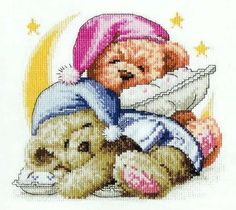 Present for christmas: teddy bear cross stitch, kids craft ideas