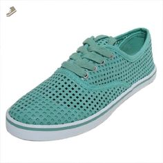 Qupid Women's Trivia19 Mint Leatherette Perforated Round Toe Lace Up Sneaker 10 M US - Qupid sneakers for women (*Amazon Partner-Link)