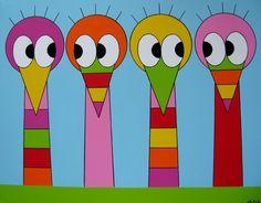 STRUISJES    Nieuwsgierige struisjes als kinderkamer schilderij