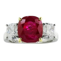 5.77 Carat No Heat Burma Ruby Diamond Ring | From a unique collection of vintage fashion rings at https://www.1stdibs.com/jewelry/rings/fashion-rings/