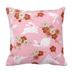 Japanese Art: Pink Sakuras & Rabbits Throw Pillow