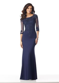 Shop Morilee's Matte Scuba Mother of the Bride Gown with Beaded Lace Appliqués on a Net Bodice. Matte Scuba Mother of the Bride Gown with Beaded Lace Appliqués on a Net Bodice Long Mothers Dress, Mother Of The Bride Dresses Long, Mother Of Bride Outfits, Mothers Dresses, Mob Dresses, Bridesmaid Dresses, Wedding Dresses, Evening Gowns With Sleeves, Formal Evening Gowns