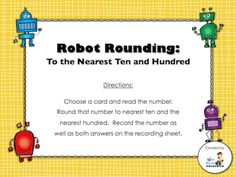 Countdown to Christmas Day 6 freebie - Robot Rounding (students will round numbers to the nearest ten and nearest hundred and record their answers on the recording sheet; answer key included)