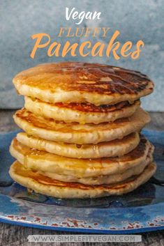 Staple recipe for the most Fluffy and Moist Vegan Pancakes ever! Low in sugar and with a hint of coconut - they make the most satisfying breakfast! Vegan Pancake Recipes, Vegan Foods, Vegan Dishes, Whole Food Recipes, Vegan Recipes, Vegan Meals, Flour Recipes, Diet Foods, Healthy Meals
