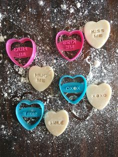 Valentine's Day is coming! What valentine wouldn't love to receive a bunch of cookies made with these BRAND NEW cookie cutter stamps? Adding some dye to your co Heart Cookie Cutter, Heart Cookies, Cookie Cutters, Cookie Dough, Converse With Heart, Cookie Decorating, Cake Toppers, Stencils, Valentines Day