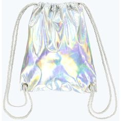 Boohoo Shelly Holographic Drawstring Backpack ($26) ❤ liked on Polyvore featuring bags, backpacks, accessories, holographic bag, strap backpack, drawstring backpack bags, knapsack bags and rucksack bag