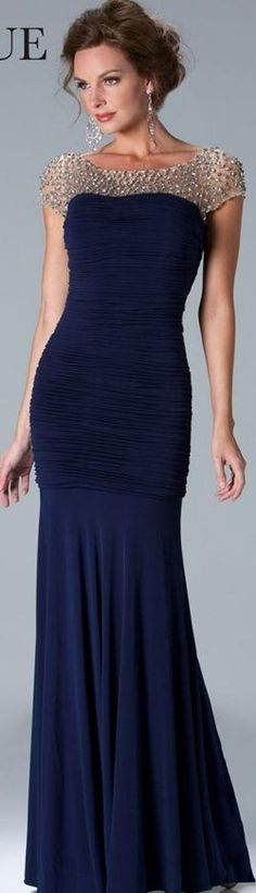 Janique Couture beaded bodice short sleeve gown navy blue silver black MOB bridesmaids special occasion